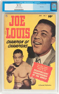 Golden Age (1938-1955):Non-Fiction, Joe Louis #1 (Fawcett Publications, 1950) CGC VF- 7.5 Cream tooff-white pages....