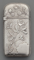 Silver Smalls:Match Safes, A Wood & Hughes Silver Floral Match Safe, New York, New York,circa 1880. Marks: W & H, STERLING, 29. 2-3/8 incheshigh ...
