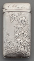 Silver Smalls:Match Safes, A Wood & Hughes Silver Match Safe with Stag Motif, New York,New York, circa 1889. Marks: W & H, STERLING. 43. 2-1/2inc...