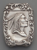 Silver Smalls:Match Safes, An American Silver Match Safe with Native American Motif, circa1900. Marks: STERLING. 2-3/8 inches high (6.0 cm). 1.27 ...