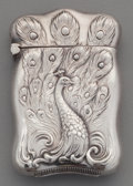 Silver Smalls:Match Safes, An American Partial Gilt Silver Match Safe with Peacock Motif,circa 1900. Marks: STERLING. 2-3/8 inches high (6.0 cm). ...