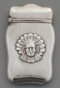 Silver Smalls:Match Safes, An American Partial Gilt Silver Match Safe with Native AmericanMotif, circa 1900. Marks: STERLING. 2-5/8 inches high (6.7 c...
