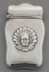 An American Partial Gilt Silver Match Safe with Native American Motif, circa 1900 Marks: STERLING 2-5/8 inches