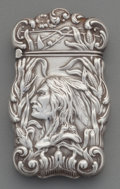 Silver Smalls:Match Safes, An American Silver Match Safe with Native American Motif,attributed to Gilbert, circa 1900. Marks: STERLING(incomplete...