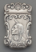 Silver Smalls:Match Safes, A Gilbert Silver Match Safe with Native American Motif, NorthAttleboro, Massachusetts, circa 1900. Marks: STERLING, G....