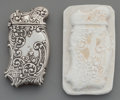 Silver Smalls:Match Safes, A Fairchild Silver Match Safe and Plaster Cast, New York, New York,circa 1885. Marks: STERLING-F, PAT. APPLD. FOR. 2-5/8 in... (Total:2 Items)