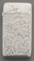 Silver Smalls:Match Safes, A Gorham Silver Floral Match Safe, Providence, Rhode Island, circa1886. Marks: (lion-anchor-G), STERLING, 555, (date ma...