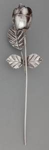 Silver Smalls:Other , A Cartier Silver Rose, 20th century. Marks: Cartier,STERLING. 10-3/4 inches long (27.3 cm). 2.66 troy ounces. ...