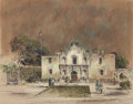 "Fine Art - Work on Paper:Watercolor, Edward Muegge ""Buck"" Schiwetz (American, 1898-1984). San Antoniode Valero (The Alamo), 1967. Mixed media on board. 14-1..."
