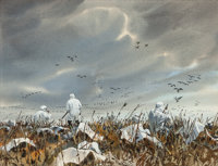 John P. Cowan (American, 1920-2008) Goose Hunt Watercolor on paper 9 x 12 inches (22.9 x 30.5 cm)