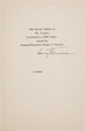Autographs:U.S. Presidents, Harry S. Truman Signed Limitation Page...