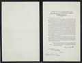Miscellaneous:Broadside, Charles E. Hughes Signed Proclamation Announcing the Death ofWoodrow Wilson....
