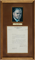 Autographs:U.S. Presidents, Herbert Hoover Typed Letter Signed....