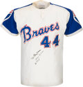 Baseball Collectibles:Uniforms, 1972 Hank Aaron Signed Game Worn Atlanta Braves Jersey....