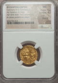 Ancients:Byzantine, Ancients: Constans II & Constantine IV (654-668). AV solidus(4.34 gm).NGC MS 5/5 - 4/5, clipped....