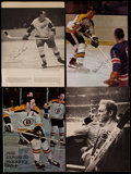 Hockey Collectibles:Photos, Hockey Greats Signed Magazine Images Lot of 4....