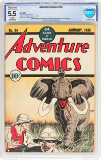 Adventure Comics #34 (DC, 1939) CBCS Restored FN- 5.5 Slight to Moderate (P) Cream to off-white pages