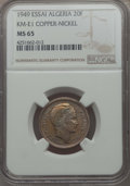 Algeria, Algeria: French Occupation copper-nickel Piefort Essai 20 Francs1949-(a) MS65 NGC,...