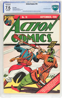 Action Comics #16 (DC, 1939) CBCS Restored VF- 7.5 Slight (P) Off-white pages