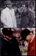 Football Collectibles:Photos, Bo Schembechler and Ara Parseghian Signed Photographs (2)....