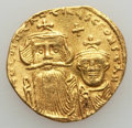 Ancients:Byzantine, Ancients: Constans II & Constantine IV (AD 654-668). AV solidus(4.31 gm). Nearly EF...