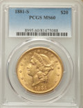 Liberty Double Eagles: , 1881-S $20 MS60 PCGS. PCGS Population: (67/412). NGC Census: (92/309). CDN: $1,500 Whsle. Bid for problem-free NGC/PCGS MS6...