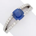 Estate Jewelry:Rings, Sapphire, Diamond, White Gold Ring. . ...