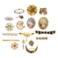 Estate Jewelry:Brooches - Pins, Diamond, Multi-Stone, Painted Portrait, Freshwater Pearl, Seed Pearl, Enamel, Hair, Gold Brooches. . ... (Total: 18 Items)