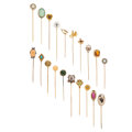 Estate Jewelry:Stick Pins and Hat Pins, Diamond, Multi-Stone, Freshwater Pearl, Half-Pearl, Glass, Enamel,Platinum, Gold, Base Metal Stickpins. ... (Total: 20 Items)
