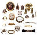 Estate Jewelry:Lots, Victorian Diamond, Multi-Stone, Seed Pearl, Enamel, PaintedPortrait, Glass, Gold Jewelry. ... (Total: 20 Items)