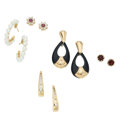Estate Jewelry:Earrings, Diamond, Multi-Stone, Cultured Pearl, Gold Earrings. ... (Total: 5Items)