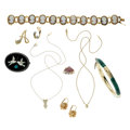 Estate Jewelry:Lots, Diamond, Multi-Stone, Gold, Sterling Silver, Base Metal Jewelry. ... (Total: 9 Items)
