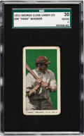 Baseball Cards:Singles (Pre-1930), 1911 E94 Close Candy Hans Wagner (Green Background) SGC 30 Good 2....