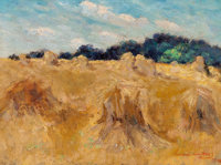 Dawson Dawson-Watson (British/American, 1864-1939) Haystacks, 1914 Oil on canvas 12 x 16 inches (