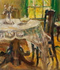 Martha Simkins (American, 1866-1969) Interior Dining Room, 1963 Oil on canvas 14 x 12 inches (35