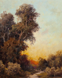 A.D. Greer (American, 1904-1998) Texas Sunset Oil on canvasboard 14 x 11 inches (35.6 x 27.9 cm)<