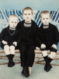 Photographs, Unknown (20th century). Portrait of Three Boys, c. 1900. Hand-colored celluloid . 5-3/4 x 4 inches (14.6 x 10.2 cm). ...