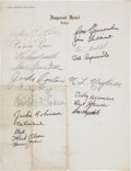 Baseball Collectibles:Others, 1956 Brooklyn Dodgers Tour of Japan Team Signed Sheet....