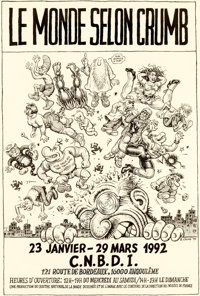 Robert Crumb Le Monde Selon Crumb [The World According To Crumb] Promotion Poster Original Art (C.N.B.D.I., 1991)