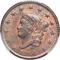 Large Cents, 1824 1C N-2, R.2, MS64 Red and Brown PCGS. CAC....