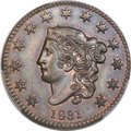 Proof Large Cents, 1831 1C Medium Letters, N-11, R.8 as Proof, PR64 Brown PCGS.CAC....