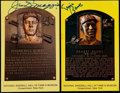 Baseball Collectibles:Photos, Banks and DiMaggio Signed Postcards (2)....