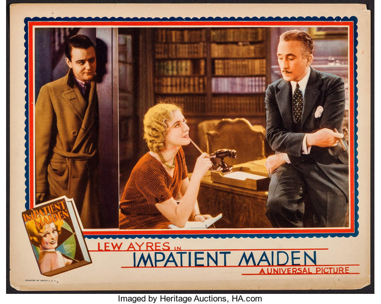 """Impatient Maiden (Universal, 1932). Lobby Card (11"""" X 14""""). Drama.. 