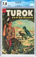 Golden Age (1938-1955):Miscellaneous, Four Color #596 Turok, Son of Stone (#1) (Dell, 1954) CGC FN/VF 7.0 Off-white to white pages....