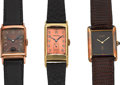 Timepieces:Wristwatch, Longines & Bulova 14k Gold Watches & A Cartier VermeilTank. ... (Total: 3 Items)