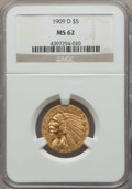 Indian Half Eagles, (2)1909-D $5 MS62 NGC. NGC Census: (9900/10910). PCGS Population: (9220/13193). CDN: $460 Whsle. Bid for problem-free NGC/P... (Total: 2 coins)