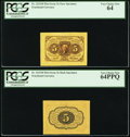Fractional Currency:First Issue, Fr. 1231SP 5¢ First Issue Wide Margin Pair PCGS Very Choice New 64& 64PPQ.. ... (Total: 2 notes)