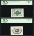 Fractional Currency:First Issue, Fr. 1243SP 10¢ First Issue Wide Margin Pair PCGS Choice About New 55.. ... (Total: 2 notes)