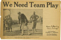 """Political:Small Paper (1896-present), Harding & Coolidge """"We Need Team Play"""" Pamphlet, 4 pages, 9.5""""x 6"""". A hard-hitting Republican newsprint promotion from the ..."""