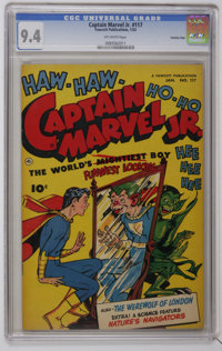 Captain Marvel Jr. #117 Crowley Copy pedigree (Fawcett, 1953) CGC NM 9.4 Off-white pages. Great cover inks. Overstreet 2...